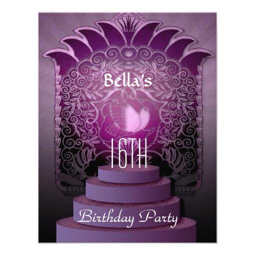 aniversário adolescente do lilac do coração do doc convites personalizado