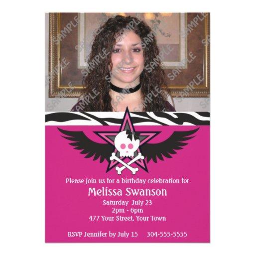 Aniversário adolescente roxo e preto convite personalizados