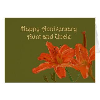 Aniversário alaranjado dos lírios de dia cartão comemorativo