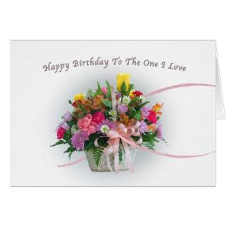 Aniversário, amante, esposo, flores em uma cesta cartão comemorativo
