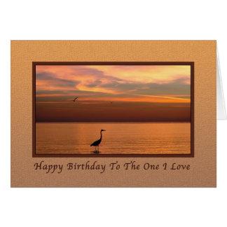 Aniversário, amante, esposo, vista para o mar no cartão comemorativo