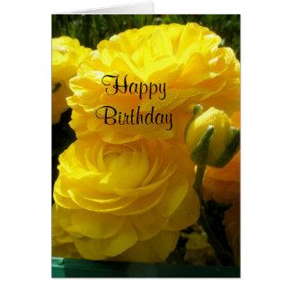 Aniversário amarelo cartão comemorativo