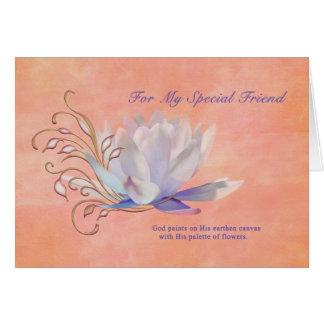 Aniversário, amigo, lírio de água, religioso cartão