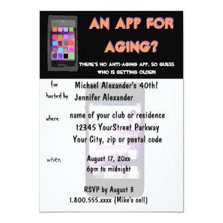 Aniversário antienvelhecimento do App do telefone Convite 12.7 X 17.78cm