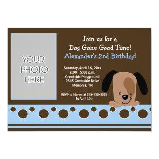 Aniversário azul 5x7 do *PHOTO* do filhote de Convites Personalizados