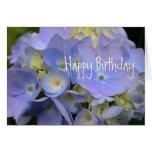 Aniversário azul da escritura do Hydrangea Cartao