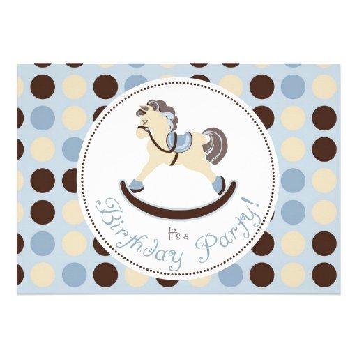 Aniversário azul do cavalo de balanço convites personalizado