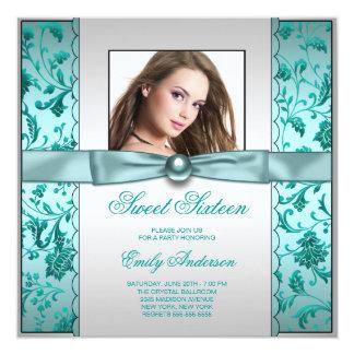 Aniversário azul do doce dezesseis da foto do convite quadrado 13.35 x 13.35cm