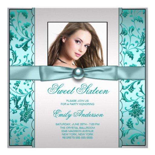 Aniversário azul do doce dezesseis da foto do dama convite