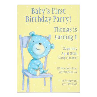 Aniversário azul do urso da chita convite 12.7 x 17.78cm