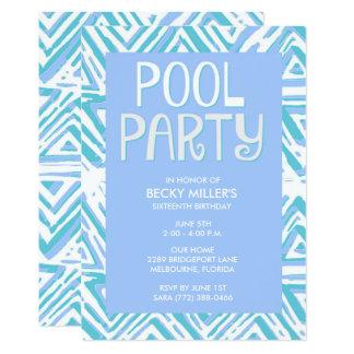 Aniversário azul do verão da festa na piscina da convite 12.7 x 17.78cm