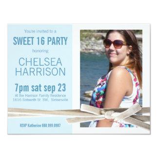 Aniversário azul e branco fresco da foto do doce convite 10.79 x 13.97cm