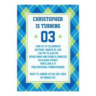 Aniversário azul & verde do estilo escolar de convites personalizados