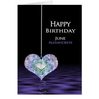 Aniversário - Birthstone - Alexandrite de JUNHO Cartão Comemorativo