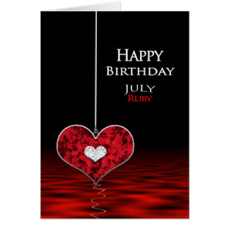 Aniversário - Birthstone - JULHO - rubi Cartão Comemorativo