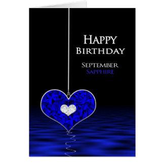 Aniversário - Birthstone - setembro - safira Cartão Comemorativo