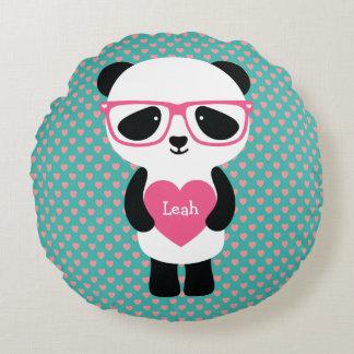 Aniversário bonito da panda almofada redonda