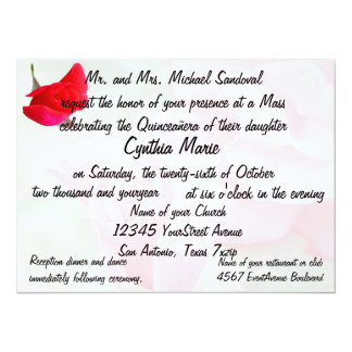 Aniversário bonito de Quinceanera da rosa vermelha Convite 13.97 X 19.05cm
