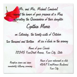 Aniversário bonito de Quinceanera da rosa vermelha Convite Quadrado 13.35 X 13.35cm