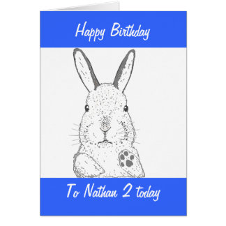 Aniversário bonito do coelho cartão comemorativo