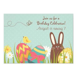 Aniversário bonito do coelho e dos ovos da páscoa convite 12.7 x 17.78cm