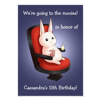 aniversário bonito do coelho no cinema convite 12.7 x 17.78cm
