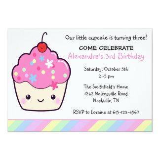 Aniversário bonito do cupcake convite 12.7 x 17.78cm