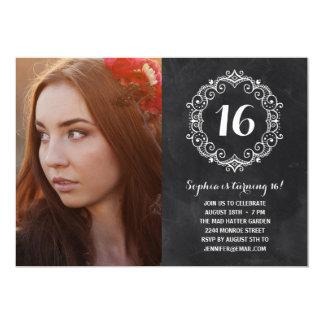 Aniversário bonito do doce dezesseis da foto do convite 12.7 x 17.78cm