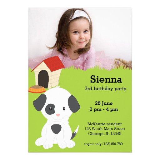 Aniversário bonito do filhote de cachorro convite personalizado