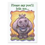 Aniversário bonito do Hippopotamus Convite 12.7 X 17.78cm