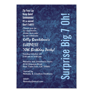 Aniversário Borgonha do 70 da SURPRESA e pêssego Convite 12.7 X 17.78cm
