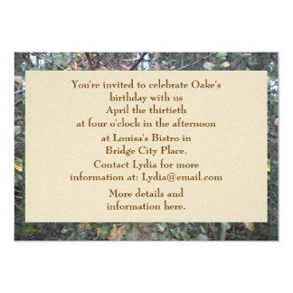 Aniversário botânico do carvalho & do bordo do convite 12.7 x 17.78cm