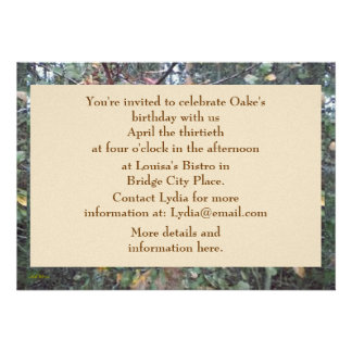 Aniversário botânico do carvalho do bordo do ple convite personalizados