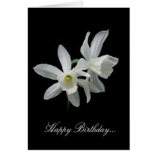 Aniversário branco do narciso cartao