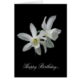 Aniversário branco do narciso cartão comemorativo