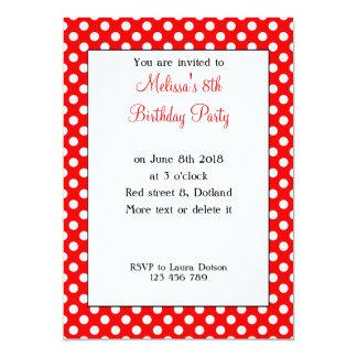 Aniversário branco vermelho na moda feminino convite 12.7 x 17.78cm
