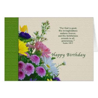 Aniversário, buquê floral, religioso cartão comemorativo