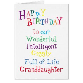 aniversário card.girls.daughters.female da neta cartão comemorativo