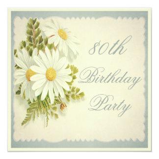 Aniversário chique do 80 das margaridas do vintage convites personalizados