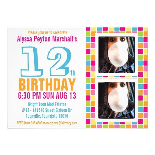 Aniversário colorido adolescente ou do adolescente convite personalizado