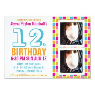 Aniversário colorido adolescente ou do adolescente convite 11.30 x 15.87cm
