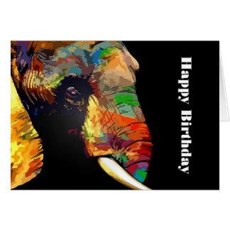 Aniversário colorido corajoso do retrato da cabeça cartão comemorativo