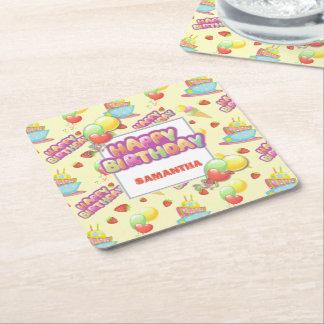 Aniversário colorido dos doces porta-copo de papel quadrado