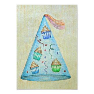 aniversário com cupcakes convite 12.7 x 17.78cm