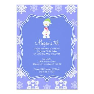 Aniversário congelado do boneco de neve do inverno convite 12.7 x 17.78cm