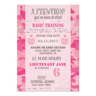Aniversário cor-de-rosa das forças armadas da convite 12.7 x 17.78cm