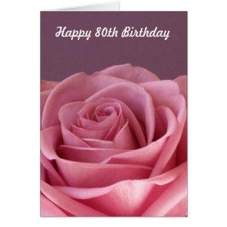 Aniversário cor-de-rosa do 80 cartão comemorativo