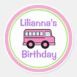 Aniversário cor-de-rosa do auto escolar adesivo