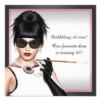 Aniversário cor-de-rosa e preto da diva elegante convite quadrado 13.35 x 13.35cm