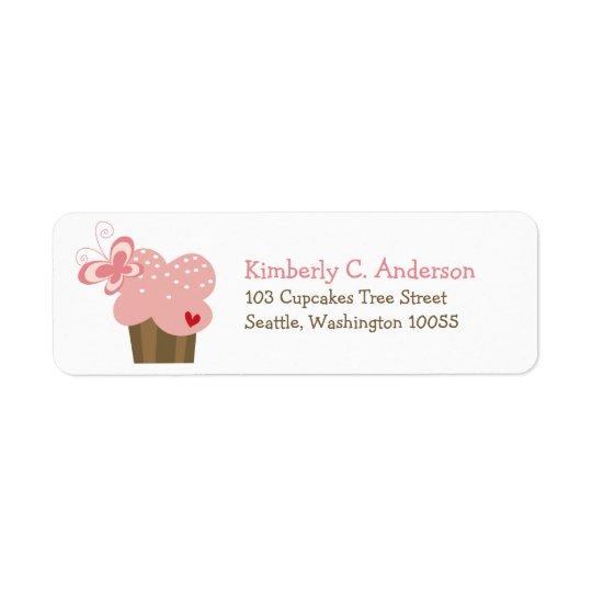 Aniversário cor-de-rosa lunático da menina da etiqueta endereço de retorno